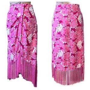 MK Pink White Hi/Lo Silk Fringe Festival Skirt